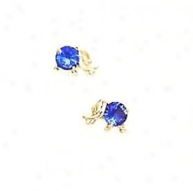 14k Yellow Blue Cz Chkldrens Elephant Earrings