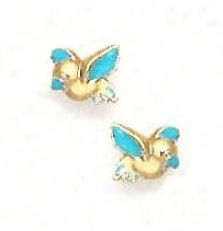 14k Yellow Blue Enamel Childrens Bird Screw-back Earrings
