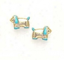 14k Yellow Blue Enamel Childrens Puppy Screw-back Earrings