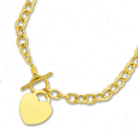 14k Yellow Impudent Heart Charm And Toggle Necklace - 17 Inch