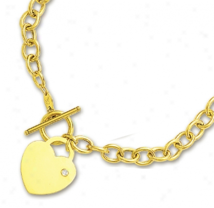 14k Yellow Bold Heart Charm Toggle Diamond Necklace - 17 Inc