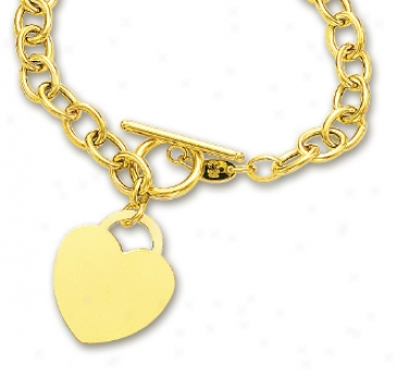 14k Yellow Bold Seat of life S Charm And Toggle Bracelet - 7.5 Inch