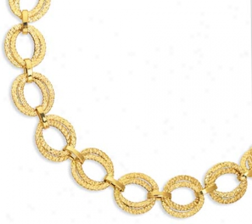14k Yellow Bold Link Spring Clasp Closure Necklace - 18 Inch