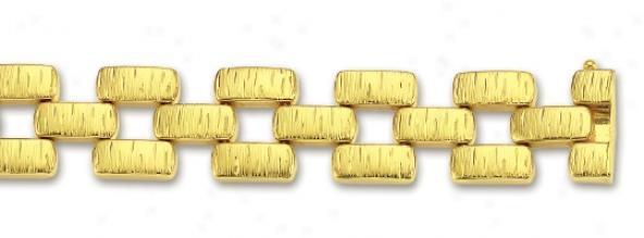 14k Yelpw Bold Matt Bracelet - 7.5 Inch