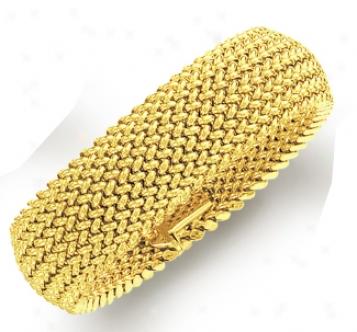 14k Yellow Bold Mesh Bracelet - 7.25 Inch