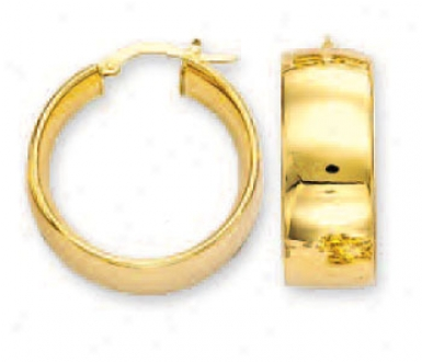 14k Yellow Bold Mirror Hoop Earrings