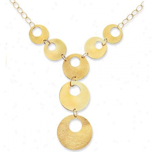 14k Yellow Bold Multi-circle Drop Necklace - 18 Inch