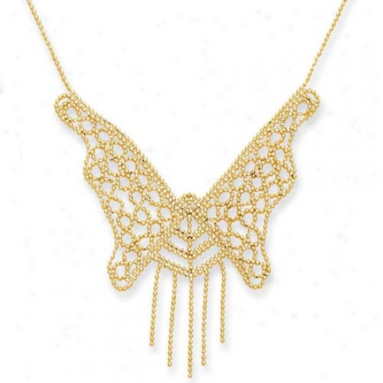 14k Yellow Butterfly Design Bead Necklace - 17 Inch