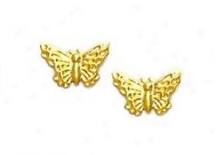 14k Yellow Butterfly Friction-back Post Earrings
