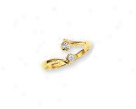 14k Yellow Bypass Round Cubic Zirconia Toe Race-course