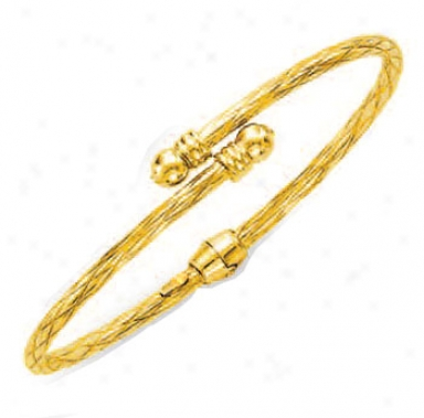 14k Yellow Bypass Twisted Bangle - 7 Inch