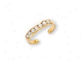 14k Yellow Channel Set Cubic Zirconia Toe Ring