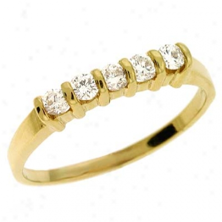 14k Yellow Channel-set Round 0.34 Ct Diamond Band Ring
