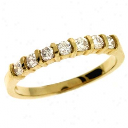 14k Yelllow Channel-set Round 0.38 Ct Diamond Band Ring