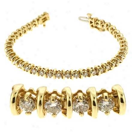 14k Yellow Channel-set Tennis 4.01 Ct Diamond Bracelet