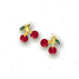 14k Golden Cherrie Chilsrens Stud Enamel Earrings