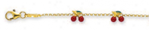 14k Yellow Cherry Station Childrens Enamel Bracrlet - 5.5 In