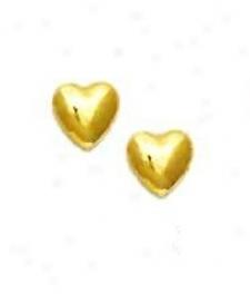14k Yellow Childrens Petite Heart Post Earrings