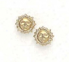 14k Yellow Chilcrens Sun Screw-back Earrings