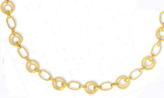 14k Yellow Circular Link Spfing Ring Necklace - 18 Inch