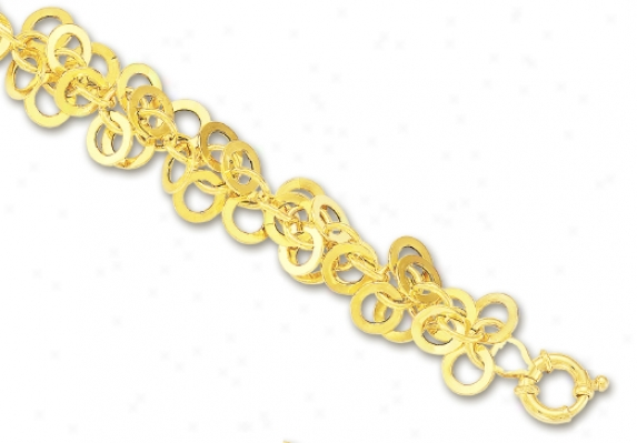 14k Yellow Circular Links Bracelet - 7.25 Inch