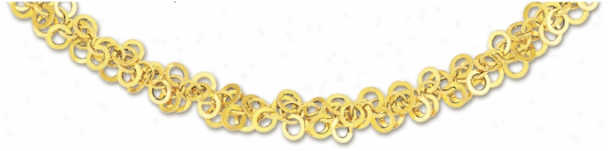 14k Yellow Circular Links Necklace - 17 Inch