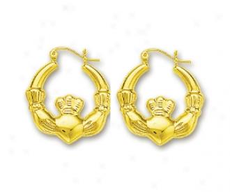 14k Yellow Claddaugh Hoop Earrings