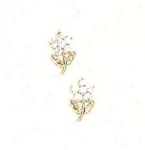 14k Golden Clear Cz Childrens Standing Flower Earrings