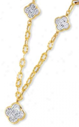 14k Yellow Clover Link Drop Necklace - 18 Inch