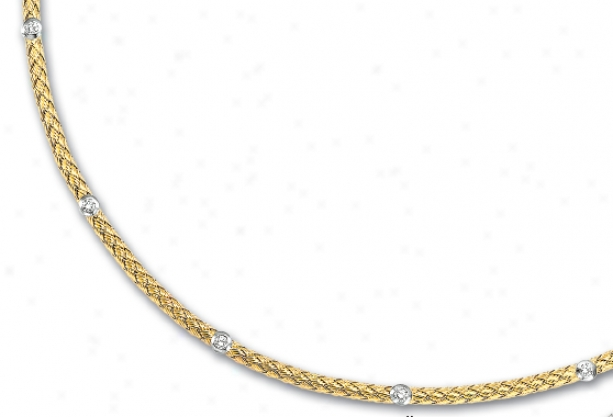 14k Yellow Couture Diamond Necklace - 17 Inch
