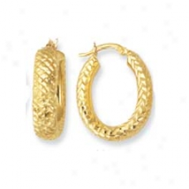 14k Yellow Criss Cross Design Hoop Earrings