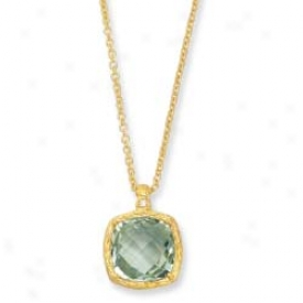 14k Yellow Cushion Cut Framed Verdant Amethyst Pendant - 18 In