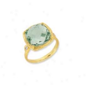 14k Yellow Cushion Cut Framed Green Amethyst Ring - Size 7.0