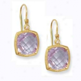 14k Yellow Cushion Sculpture Framed Leverback Amethyst Earrings