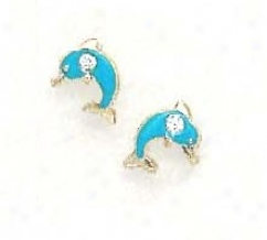 144k Yellow Cz Blue Enamel Childrens Dolphin Earrings