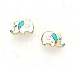 14k Yellow Cz Blue Enamel Childrens Elephant Earrings