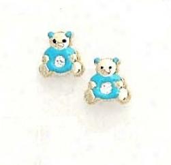 14k Yellow Cz Blue Enamel Childrens Teddy Bear Earrings