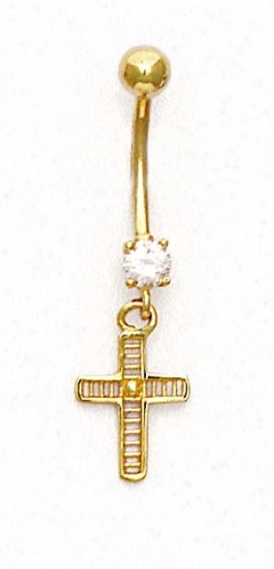 14k Yellow Cz Cross Belly Ring