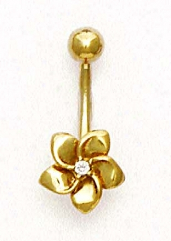 14k Yellow Cz Flower Belly Ring