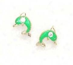 14k Yellow Cz Green Enamel Childrens Dolphin Earrings