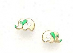 14k Yellow Cz Green Enamel Childrens Elephant Earrings