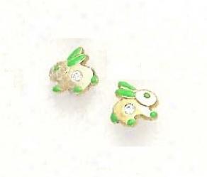 14k Yellow Cz Green Enamel Childrens Rabbit Earrings