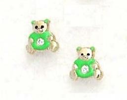 14k Golden Cz Green Enamel Childrens Teddy Bear Earrings