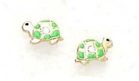 14k Yellow Cz Green Enamel Childrens Turtle Earrings