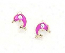14k Yellow Cz Pink Enamel Childrens Dolphin Earrings