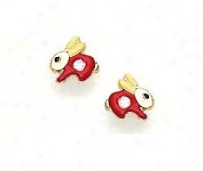14k Yellow Cz Re dEnamel Childrens Rabbit Earrings