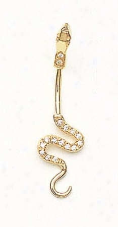 14k Yellow Cz Snake Belly Ring