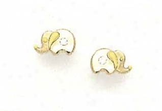 14k Yellow Cz Yellow Enamel Childrens Elephant Earrings