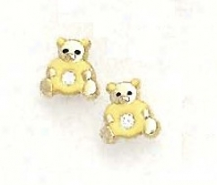 14k Yellow Cz Yellow Enamel Childrens Teddy Bear Earrings