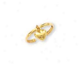 14k Yellow Dangling Heart Toe Ring